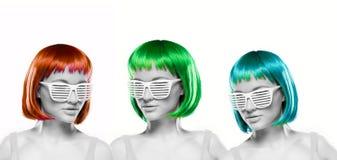 Women wearing blinder shutter sunglasses Stock Image