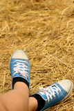 Women wearing blue shoes standing on rice straw. Stock Images