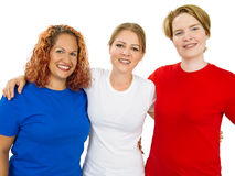 Women wearing blue white and red blank shirts Stock Image