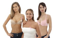 Women wearing Breast Cancer Awereness ribbon Royalty Free Stock Photo