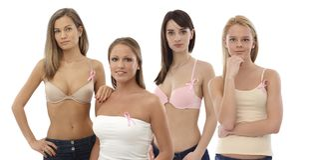 Women wearing Breast Cancer Awereness ribbon Stock Photo
