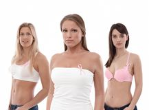 Women wearing Breast Cancer Awereness ribbon Stock Image