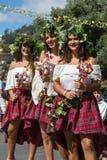 Madeira Wine Festival in Estreito de Camara de Lobos, Madeira, Portugal. Women wearing in colorful costumes at Madeira Wine Festival in Estreito de Camara de Royalty Free Stock Image