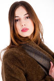 Women wearing a fur jacket Stock Photos