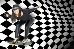 Women wearing high heels on skateboard listening to music Stock Photography