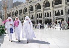 Women wearing ihram from Makkah for Umrah. royalty free stock photos