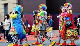 Women is wearing  joker cloth at halloween Stock Photography