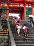 Women wearing kimono at japanese temple Stock Photos