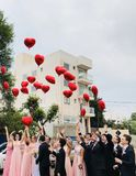 Women Wearing Pink Dresses and Men Wearing Black Suit Jacket and Pants Raising Hands With Red Heart Balloons Stock Images