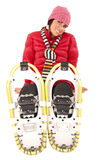 Women wearing snowshoes sitting in studio Stock Images