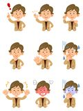 9 women wearing suits, Set of poses and facial expressions, Shortcut, upper body royalty free illustration
