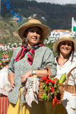 Women wearing in traditional costumes at Madeira Wine Festival in Estreito de Camara de Lobos, Madeira, Portugal. Royalty Free Stock Photography