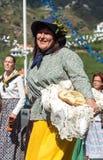 Women wearing in traditional costumes at Madeira Wine Festival in Estreito de Camara de Lobos, Madeira. Portugal. The Madeira Wine Festival honors the grape Stock Image