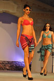 Women wearing underwear and bra at fashion show Royalty Free Stock Images
