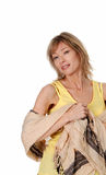 Women wearing a yellow tank top with a scarf Royalty Free Stock Photography