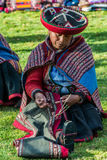 Women weaving peruvian Andes  Cuzco Peru Stock Photo
