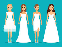 Women in wedding dresses Stock Images