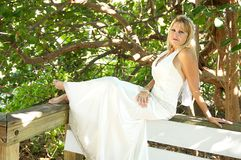Women in a wedding gown Royalty Free Stock Photography