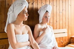 Women in wellness spa enjoying sauna infusion Stock Image