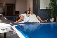Women in wellness and spa swimming pool Stock Photography