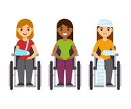 Women in wheelchairs set. Young women in wheelchairs set, cartoon vector illustration. Injury and disability concept, rehabilitation from accident Royalty Free Stock Photo
