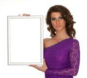 Women whit sign Stock Photos