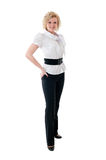 Women in white blouse  and black trousers Stock Image