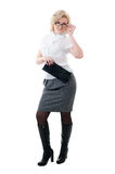 Women in white blouse  and grey skirt Stock Photo