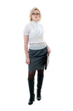 Women in white blouse  and grey skirt Royalty Free Stock Image
