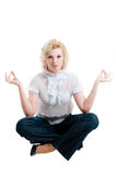 Women in white blouse  and jeans Stock Photo