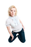 Women in white blouse  and jeans Stock Image