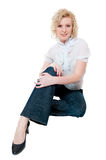 Women in white blouse  and jeans Stock Photography