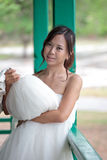 Women in white dress bride smiling Royalty Free Stock Photography