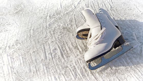 Women white skates. Royalty Free Stock Photos