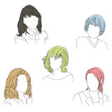 Women who are unnoticed. Five line drawings of featureless women on an isolated white background Royalty Free Stock Image