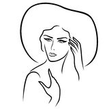 Women in the wide-brimmed hat. Beautiful serious young lady in the wide-brimmed hat gesticulated her hands, vector outline Vector Illustration