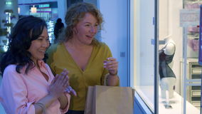Women window shopping. Two women window shopping at the mall. Attractive caucasian lady touching the hand of her friend near the store window. Excited female stock footage