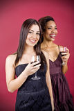 Women and wine Stock Photo