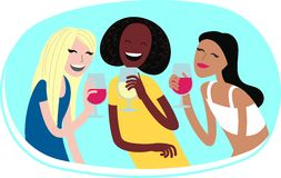 Women with wine. Perfect flat design illustration of party topic. Laughing girl for your web, banners, infographic, pack and other Stock Photos
