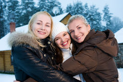 Women in winter clothing outdoors Stock Photo