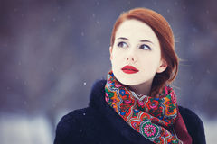 Women with in winter park. Royalty Free Stock Images