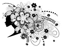 Women witch flowers in hair. In black and white Stock Image