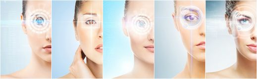 Free Women With A Digital Laser Hologram On Eyes Collage. Ophthalmology, Eye Surgery And Identity Scanning Technology Concept Stock Photography - 110266992