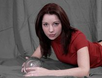 Women With Crystal Ball Stock Photo