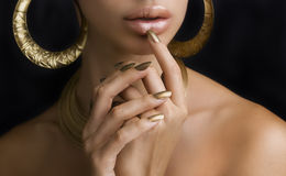 Free Women With Golden Make-up, Hands With Golden Manicure. Makeup, B Stock Photos - 54726293