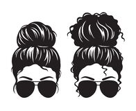 Free Women With Messy Bun And Sunglasses Face Silhouette Stock Image - 193063811