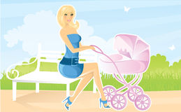 Women With Pram Royalty Free Stock Photography