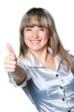 Women witth thumb up Stock Photo