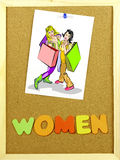 Women word on a corkboard Stock Photo