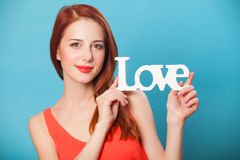 Women with word Love Royalty Free Stock Images